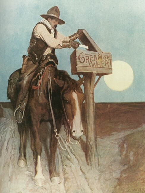 N.C. Wyeth, 1908Where the mail goes, Cream of Wheat goes.